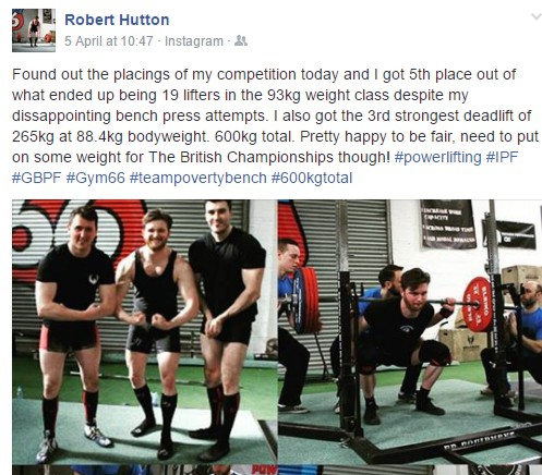 Member Rob Hutton Takes 5th Out Of 19 In First Powerlifting Competition